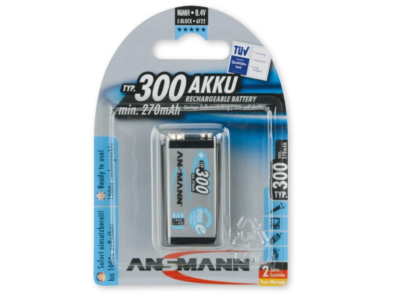 ANSMANN Pin sạc cao cấp NiMH E-300mAh - 5035453